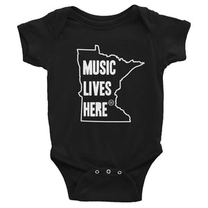 "Minnesota ""MUSIC LIVES HERE"" Baby Onesie"