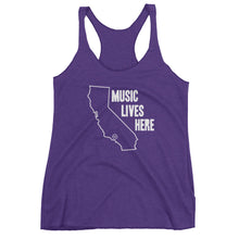 "California ""MUSIC LIVES HERE"" Women's Triblend Racerback Tank Top"