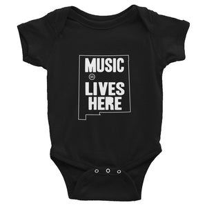 "New Mexico ""MUSIC LIVES HERE"" Baby Onesie"