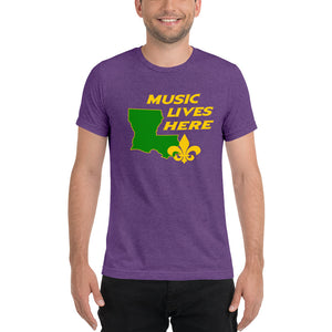 "Louisiana ""MUSIC LIVES HERE"" Men's Triblend T-Shirt"
