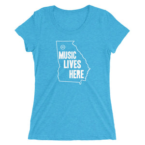 "Georgia ""MUSIC LIVES HERE"" Women's Triblend T-Shirt"
