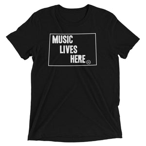 "Wyoming ""MUSIC LIVES HERE"" Men's Triblend Tshirt"