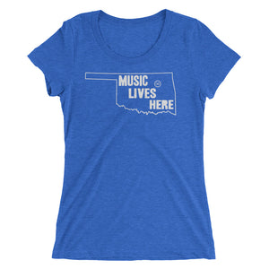 "Oklahoma ""MUSIC LIVES HERE"" Women's Triblend Tshirt"