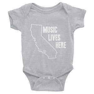 "California ""MUSIC LIVES HERE"" Baby Onesie"