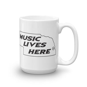 "Nebraska ""MUSIC LIVES HERE"" White Mug"