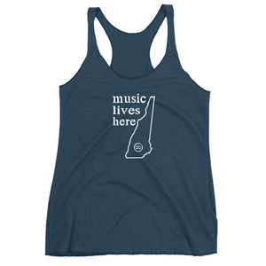 "New Hampshire ""MUSIC LIVES HERE"" Women's Triblend Racerback Tank"