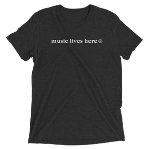 """MUSIC LIVES HERE"" Men's Triblend T-Shirt"