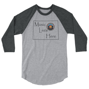"Colorado Pride ""MUSIC LIVES HERE"" 3/4 sleeve raglan shirt"