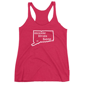 "Connecticut ""MUSIC LIVES HERE"" Women's Triblend Racerback Tank"