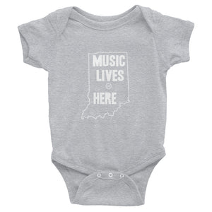"Indiana ""MUSIC LIVES HERE"" Baby Onesie"