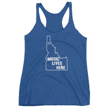 "Idaho ""MUSIC LIVES HERE"" Women's Triblend Racerback Tank Top"