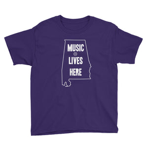 "Alabama ""MUSIC LIVES HERE"" Youth Short Sleeve T-Shirt"
