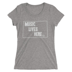 "Wyoming ""MUSIC LIVES HERE"" Women's Triblend Tshirt"