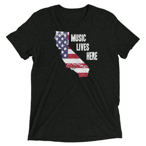 "California Patriot ""MUSIC LIVES HERE"" Men's Triblend T-Shirt"