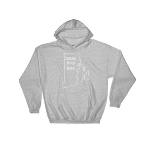 "Rhode Island ""MUSIC LIVES HERE"" Men's Hooded Sweatshirt"