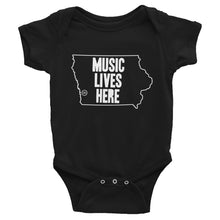"Iowa ""MUSIC LIVES HERE"" Baby Onesie"