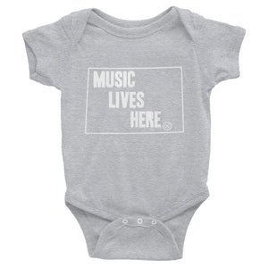 "Wyoming ""MUSIC LIVES HERE"" Baby Onesie"