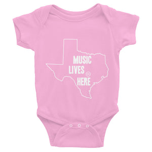 "Texas ""MUSIC LIVES HERE"" Baby Onesie"