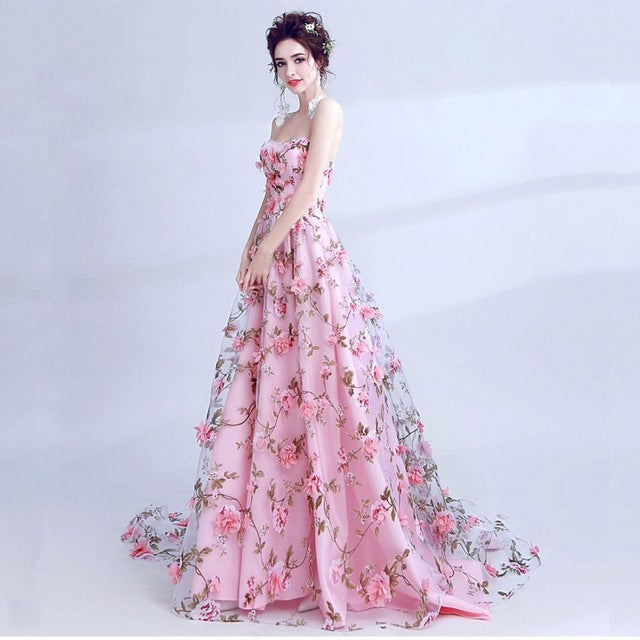 JaneVini Pink Floral Print Long Gowns for Women Wedding Party Dress ...
