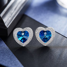 swarovski heart stud earrings