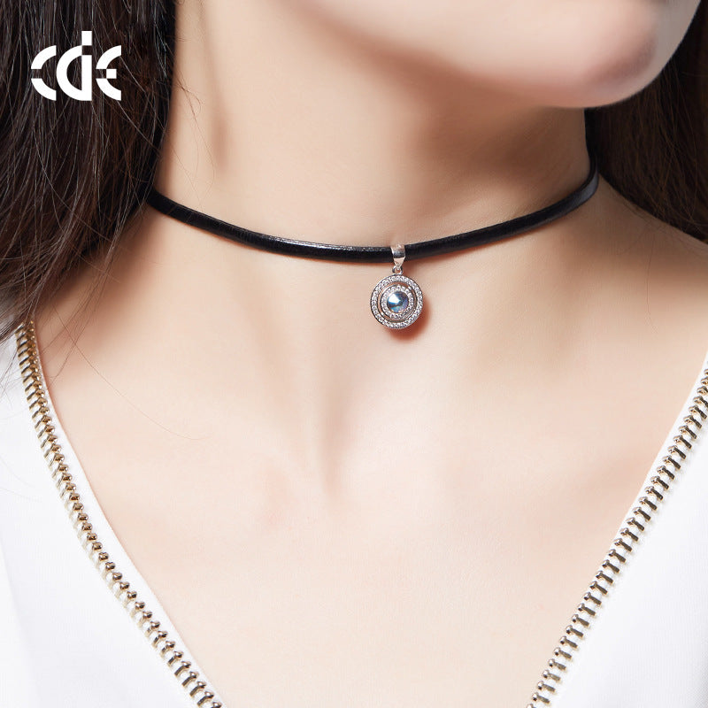 Womens Black Choker Necklace With Swarovski Element Crystal