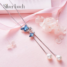 crystal necklace blue