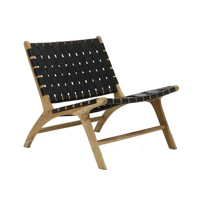 Haydee Woven Leather & Teak Low Chair - Black