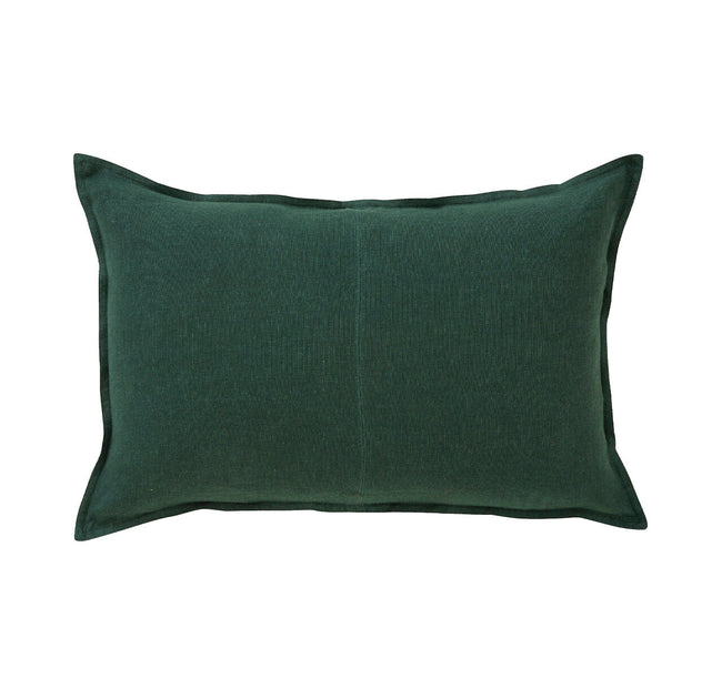European Linen Como Lumbar Cushion + Feather Inner - Forest