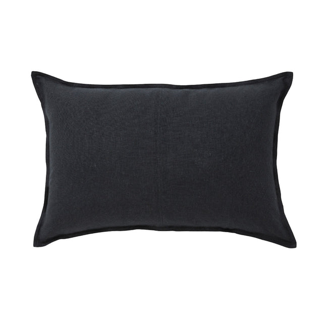 European Linen Como Lumbar Cushion + Feather Inner - Shadow
