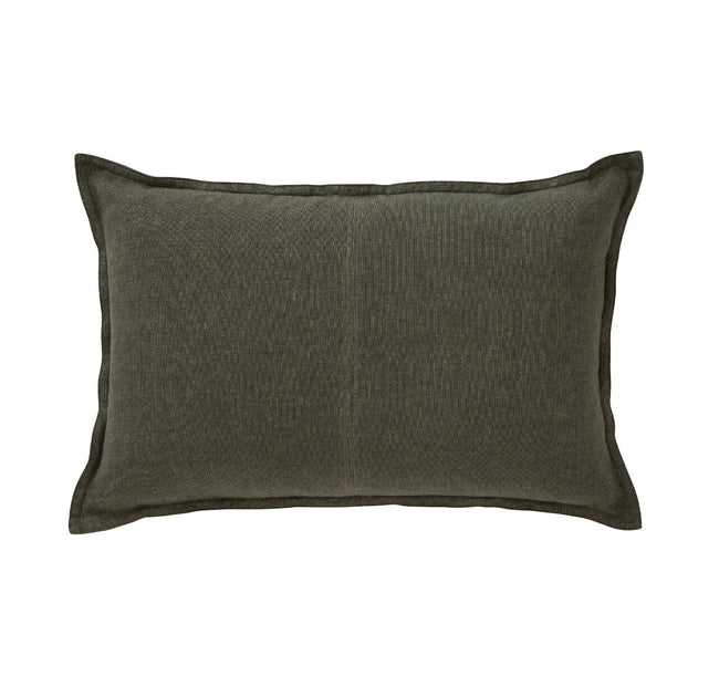 European Linen Como Lumbar Cushion + Feather Inner - Khaki