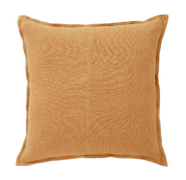 European Linen Como Square Cushion + Feather Inner - Amber
