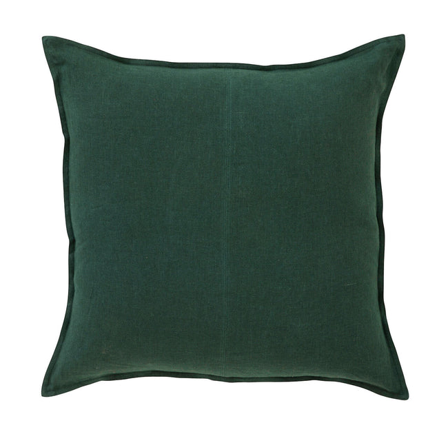 European Linen Como Square Cushion + Feather Inner - Forest