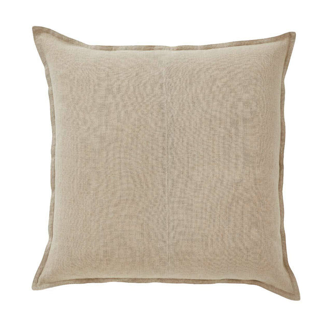 European Linen Como Square Cushion + Feather Inner - Linen
