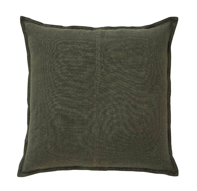 European Linen Como Square Cushion + Feather Inner - Khaki