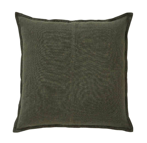European Linen Como Square Cushion + Feather Inner - Mineral