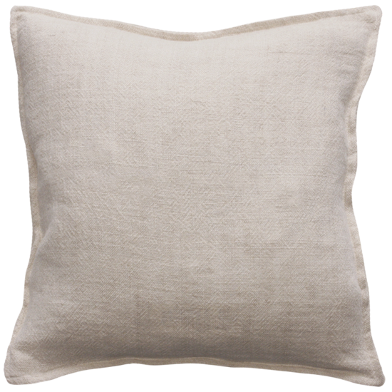 Flaxmill Linen Cushion with Plush Feather Inner - Nude