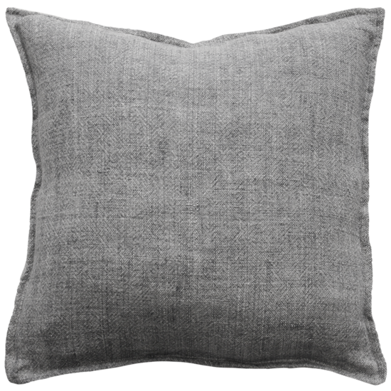 Flaxmill Linen Cushion with Plush Feather Inner - Charcoal
