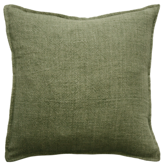 Flaxmill Linen Cushion with Plush Feather Inner - Olive