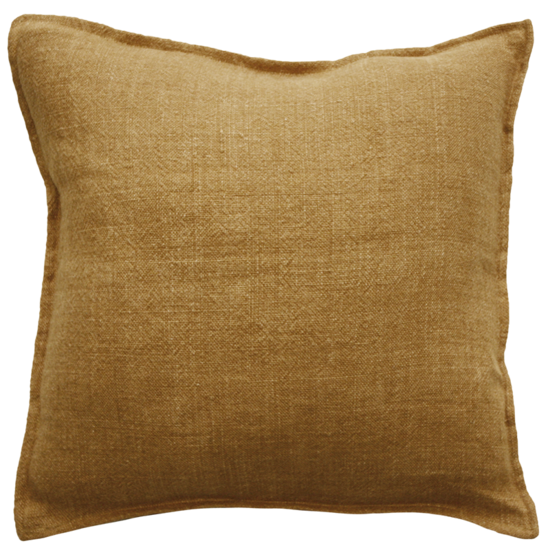 Flaxmill Linen Cushion with Plush Feather Inner - Nutmeg