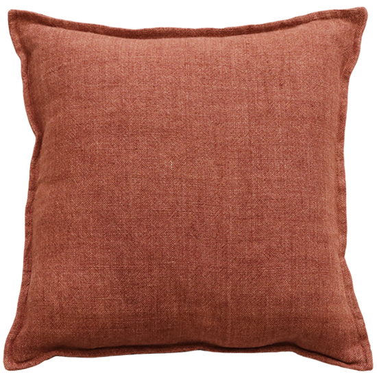 Flaxmill Linen Cushion with Plush Feather Inner - Chutney