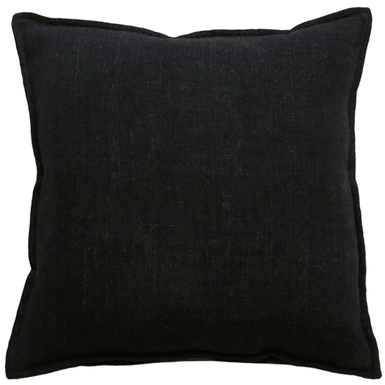 Flaxmill Linen Cushion with Plush Feather Inner - Black