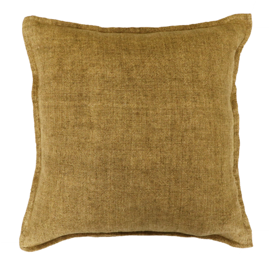Flaxmill Linen Cushion with Plush Feather Inner - Fenugreek