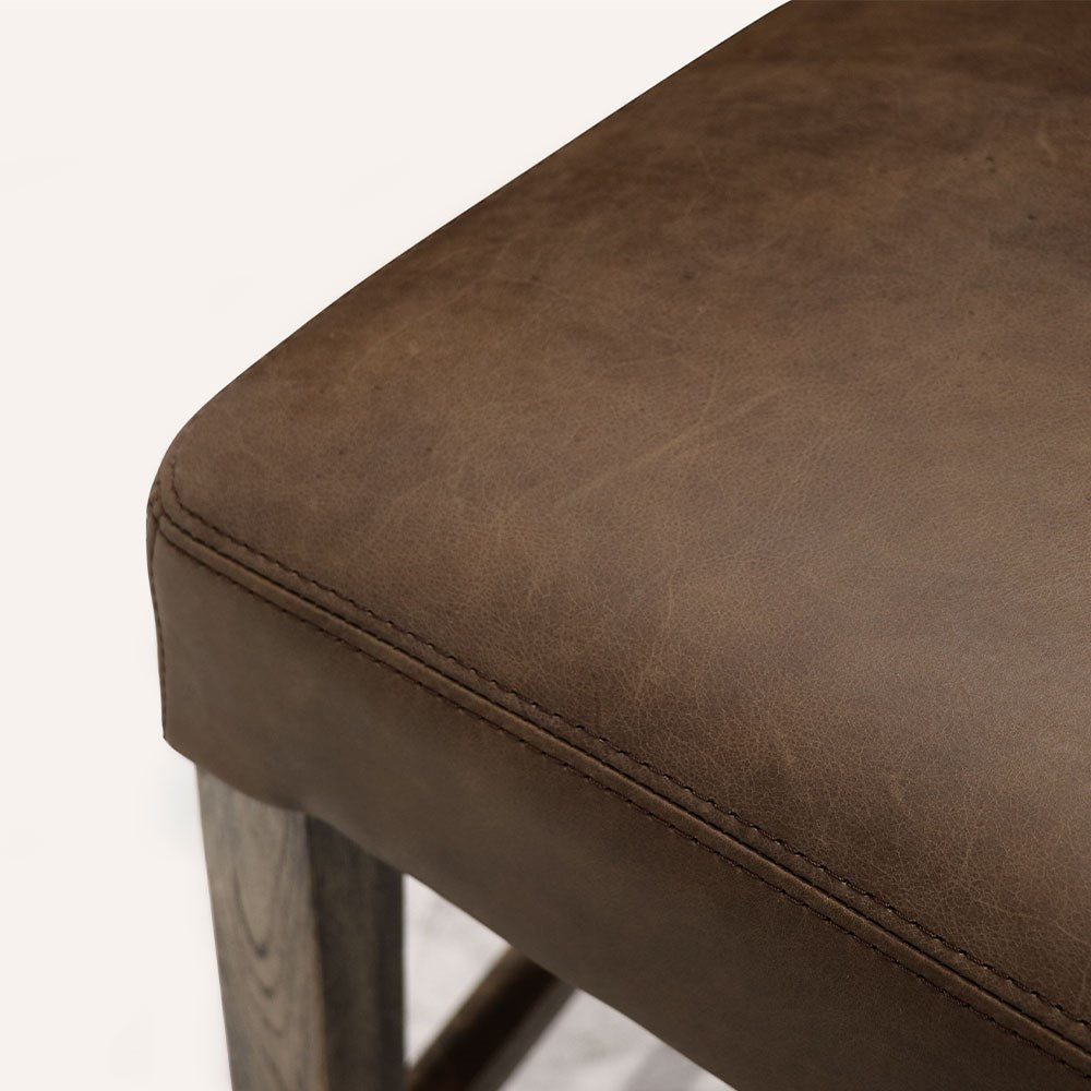Crown Brown Leather Barstool with Studded Back