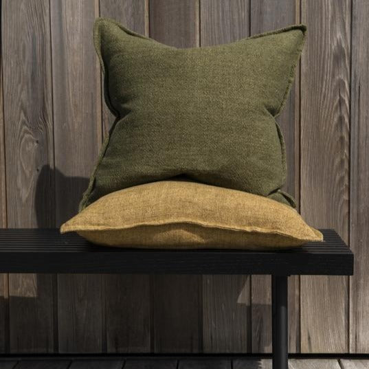 Flaxmill Linen Cushion with Plush Feather Inner - Winter Moss