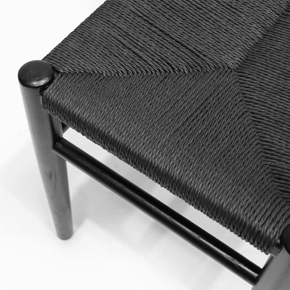 Jamara Oak and Rattan Bench - Black - 1500