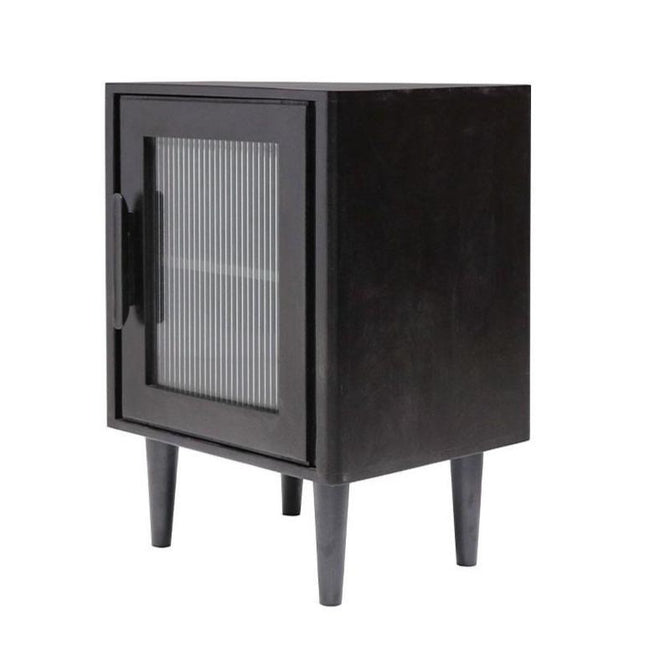 Taylor Glass Bedside Table - Black