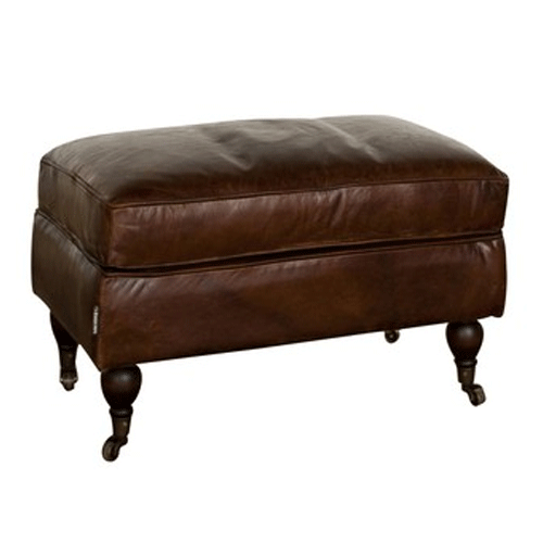 Aged Brown Leather Ottoman Footstool with Castors