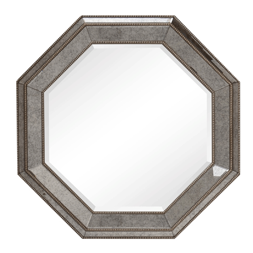 Aged Finish Bevelled Mirror with Bead Detail