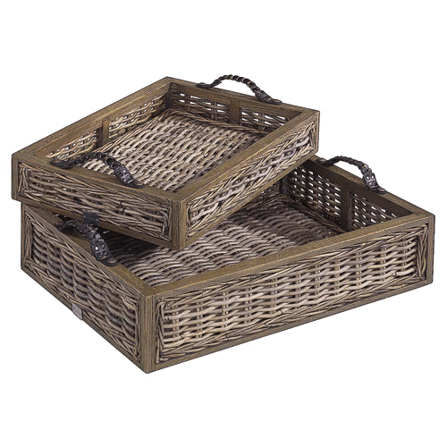 Artwood Rattan Serving Trays - Set of 2