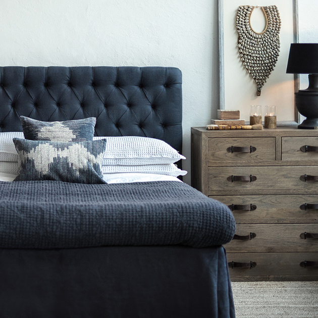 Artwood London Linen & Oak Headboard - Indigo